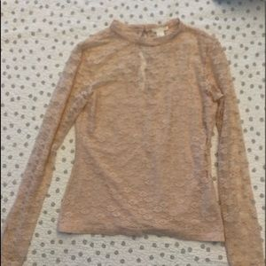 H&M M Blush Lace Long Sleeve Top New